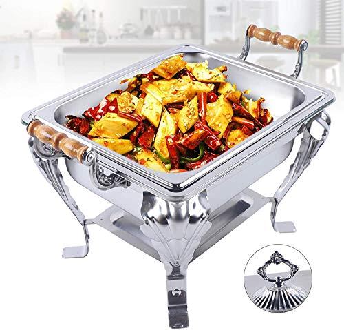 Futchoy Calentador de acero inoxidable Chafing Dish para catering, bufé y fiesta, con recipiente y tapa GN 1/1, 420 x 290 x 320 mm