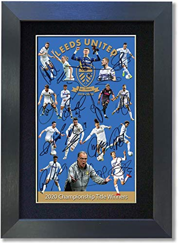 LEEDS UNITED 2020 Championship Winners Signed Reproduction Autograph Mounted Photo Print 852 (Black Frame 297 x 210mm)