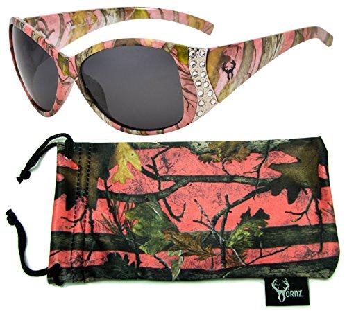 Hornz Rosa Camouflage polarisierten Sonnenbrillen für Damen Strass Akzente & freie passende Beutel aus Mikrofaser – Rosa Camo Rahmen - Rauch- Objektiv