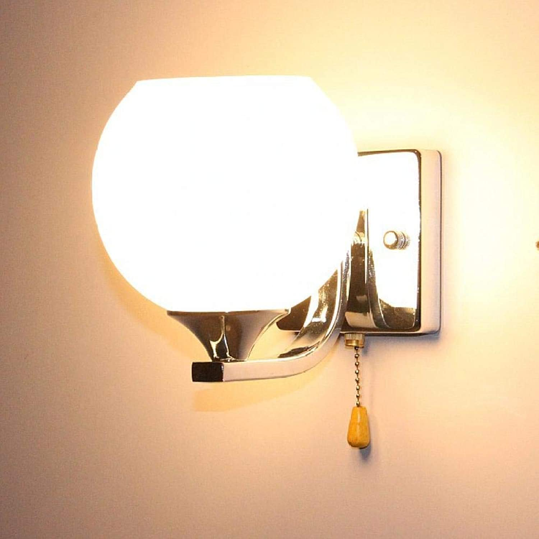 Wandleuchte Nachttischlampe moderne minimalistische kreative LED Wandleuchte Schlafzimmer Wohnzimmer Treppe mit Schalter Doppelkopf @ Single Kopf