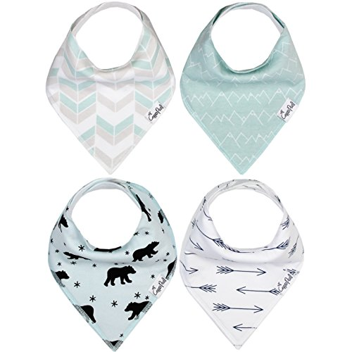 """Baby Bandana Drool Bibs for Drooling and Teething 4 Pack Gift Set """"Archer Set"""" by Copper Pearl"""