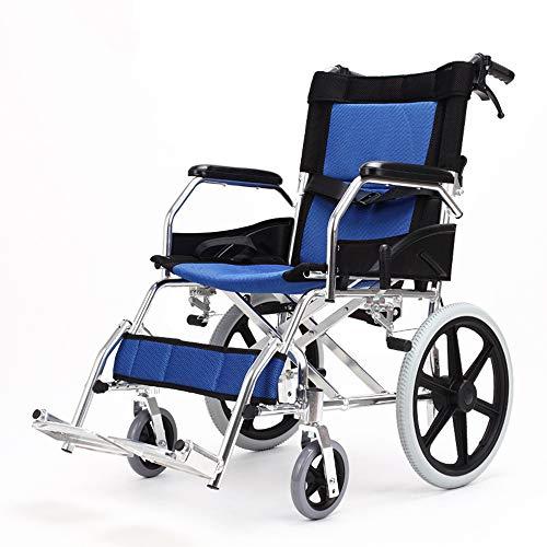 XHNICE Selbstfahrender Rollstuhl, der, Fahrender Rollstuhl-tragbarer Reise-Stuhl, Heller Aluminiumlaufkatze-untaugliche ältere fahrende medizinische Person mit justierbaren Fußstützen faltet