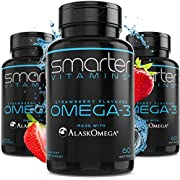 (3 Pack) Omega 3 Fish Oil, Strawberry Flavor, Burpless, Tasteless, 2000mg, Potent DHA EPA Brain Omega-3, Joint Support, Made with AlaskOmega Triple Strength Brain Support - SMARTERVITAMINS