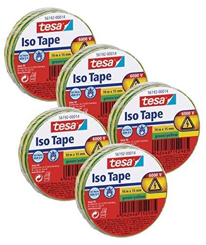 Tesa Isolierband 10m x 15mm (5 Rollen/Grün/Gelb)