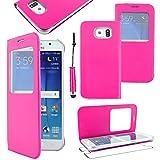 ebestStar - Funda Compatible con Samsung S6 Galaxy SM-G920F, G920 Carcasa Ventana Vista Cover Cuero PU, Funda Libro Billetera + Mini Lápiz, Rosa [Aparato: 143.4 x 70.5 x 6.8mm, 5.1'']