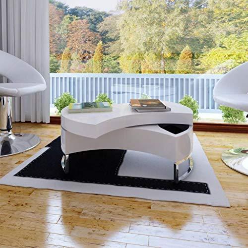 vidaXL Coffee Table Shape-Adjustable High Gloss White Side End Storage Table