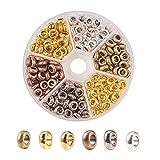 PandaHall 300pcs 6 Colori Perline distanziatori in Lega di Metallo Rondelle distanziatori 4mm Grande Foro fascini Europei per la creazione di Gioielli Collana Braccialetto
