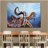 DIHEFA Gigante pulpo lienzo arte pintura al óleo moder decoración del hogar imagen pared cuadros para sala de estar/60x80cm ningún marco