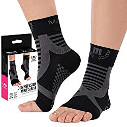 Black and Grey Mava Sports Ankle Brace Support Sleeves