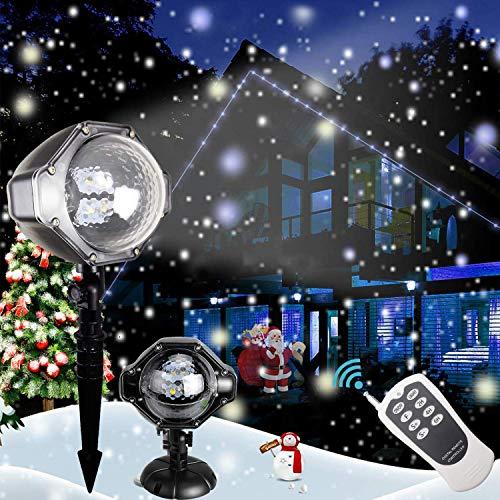 Decorazioni natalizie Proiettore LED di . Lampade del paesaggio del riflettore rotante delle precipitazioni nevose bianche dei fiocchi di neve. Giardino interno ed esterno Illuminazione decorativa