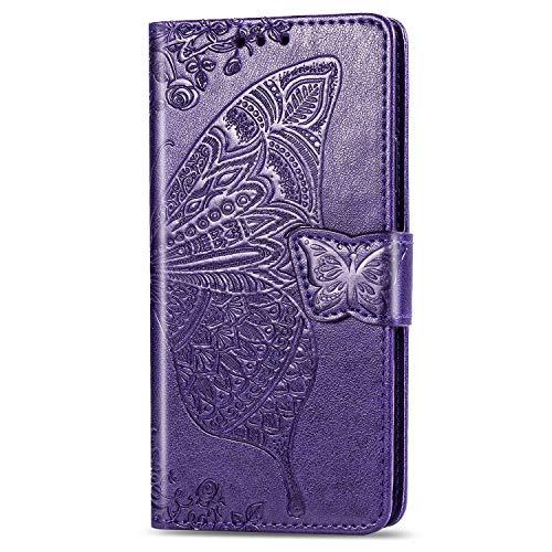 RZL Teléfono móvil Fundas para iPhone 12/12 Pro/Pro 12 MAX 12 Mini, tirón de la Carpeta de Cuero del Caso de la Mariposa en Relieve 3D tirón de la Carpeta para el iPhone 11/11 Pro/Pro 11 MAX