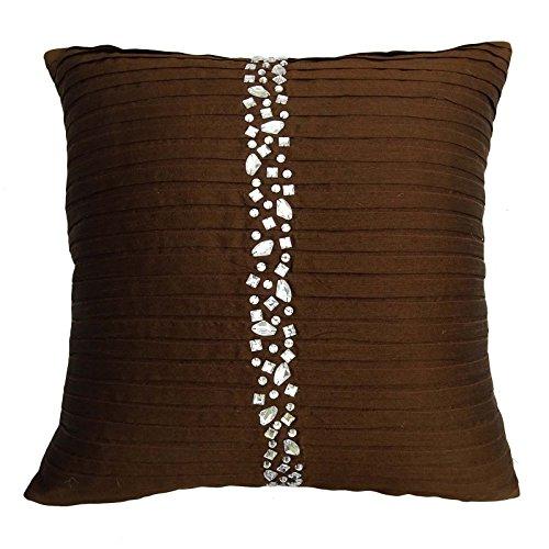 S4sassy hecha a mano fundas de colchón funda de almohada decorativa de piedra marrón con cuentas de banda cuadrada de 24 x 24