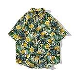 PENNY73 Camisa para Hombre Camisa Hawaiana con Botones Abiertos y Estampado Completo Naranja Top de Solapa de Moda de Corte Relajado Secado Rápido,Green,M(165cm65kg)