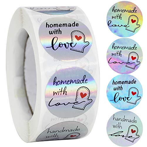 NSWDYLO Homemade Stickers Roll 500pcs 1  Homemade with Love Stickers Handmade Stickers Labels with 4 Designs Holographic Stickers Roll Canning Labels for Jars Perfect for Personal and Business Use