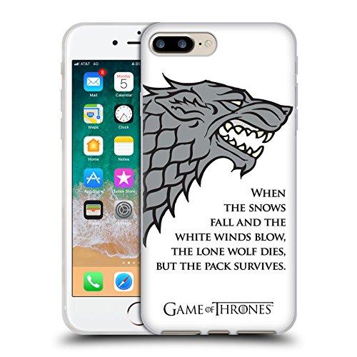 Head Case Designs Licenza Ufficiale HBO Game of Thrones Venti Bianchi Grafiche Cover in Morbido Gel Compatibile con Apple iPhone 7 Plus/iPhone 8 Plus