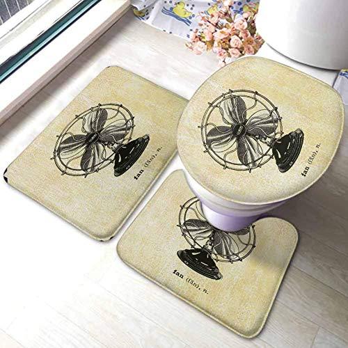 GABRI Conjuntos de alfombras de baño Alfombrillas de baño Juego de alfombras Ventilador eléctrico. Ilustración Vectorial Retro. Pintado a Mano. Alfombrilla de baño en Forma de U, Tapa de Inodo