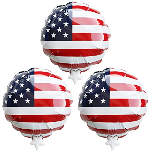 "7.5"" Self-Inflating Foil USA Balloons, Simply Press to Inflate, Pack of 3"