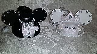 Disney Parks Wedding Bride Groom Mickey Mouse Ears Hat Ornament Set of 2