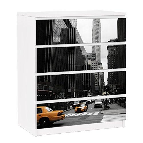 Apalis Möbelfolie für IKEA Malm Kommode Dekorfolie Empire State Building 4X 20x80cm