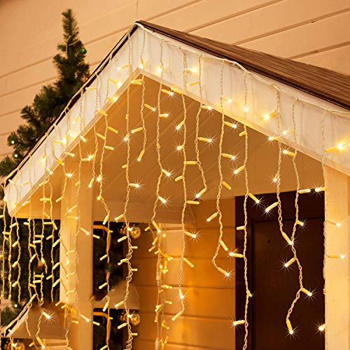 Toodour Christmas Icicle Lights, 29.5ft 360 LED, 8 Modes, Window Curtain Fairy Lights with 60 Drops, Led Icicle Fairy Twinkle Lights for Party, Holiday, Wedding Decorations (Warm White)