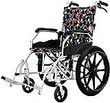 Wheelchair Silla de ruedas, silla de rehabilitación médica para personas mayores, personas mayores, sillas de ruedas plegables, ligeras, autopropulsadas con frenos acompañantes, ruedas de aluminio pa
