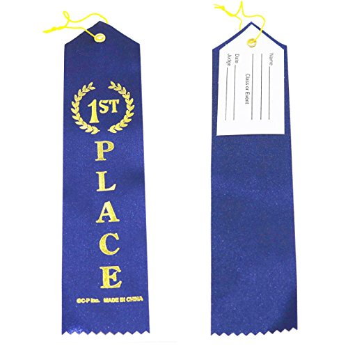 1st Place (Blue) Award Ribbons with a Card and String (24) pack