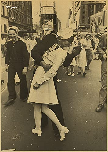 H/A Victory Kiss The Classic Retro Brown Paper Poster of The Classic Vintage of World War Ii Poster Wandaufkleber Z570 50 * 70Cm