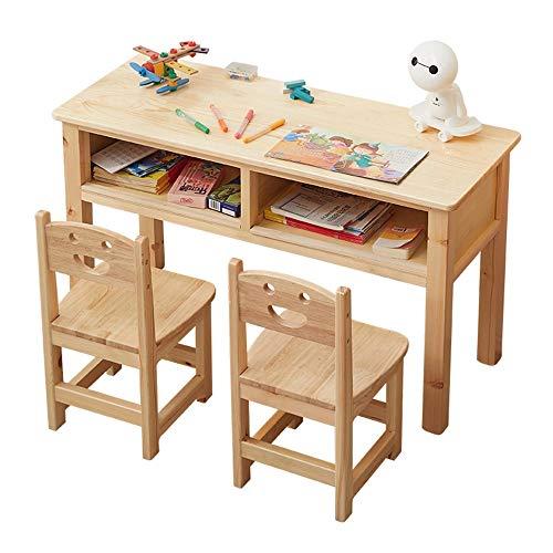 Juego de mesa y silla para niños, mesa y silla de estudio para niños de doble cajón de madera maciza, escritorio espacioso con 2 sillas, adecuado para leer, comer y jugar, estable y duradero/A