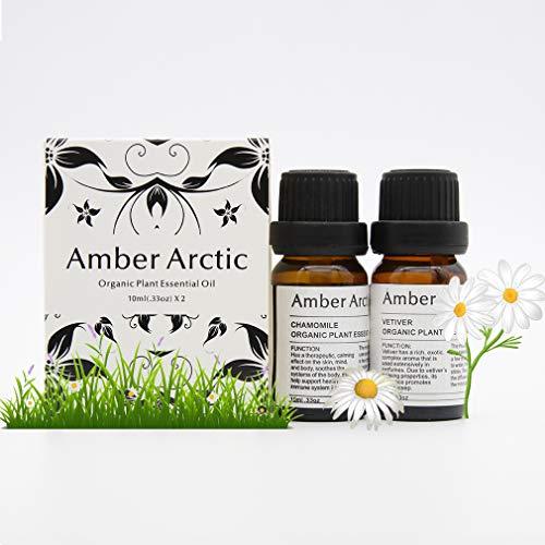 Chamomile Vetiver Essential Oil Set, 100% Pure Aromatherapy Essential Oils for Diffuser, Massage, Skin Care - 2 X 10ml