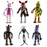 Set of 6 pcs FNAF Action Figures, Inspired by Five Nights at Freddy's Action Figures Toys Dolls Gifts Cake Toppers, Foxy Articulated Action, Toys Dolls, 6 inches