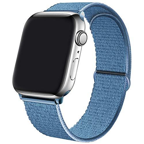 Qunbor Correa Compatible con Apple Watch 38mm 40mm 42mm 44mm para iWatch Series 6 5 4 SE 3 2 1, Sport Nailon trenzado Loop Tela Tejido Elastica Repuesto Pulsera transpirable Reemplazo, Cape Cod Blue