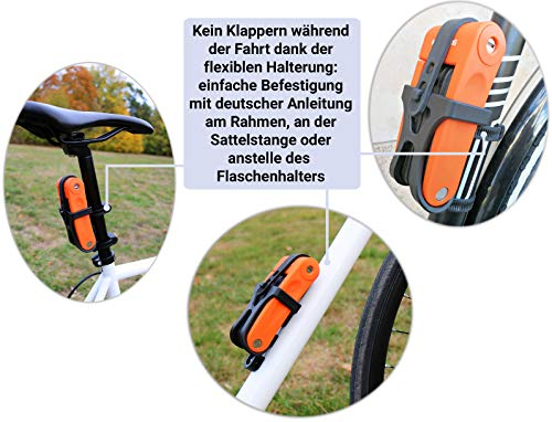 KOHLBURG sehr Leichtes & kleines Faltschloss – 690g leicht & 70cm lang – sicheres Fahrradschloss aus gehärteten Spezialstahl für E-Bike & Fahrrad - 6