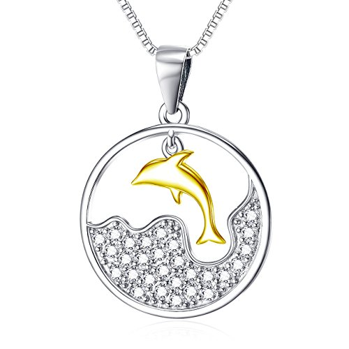 YFN Dolphin Necklace 925 Sterling Silver Women Necklace Dolphin Wave Jewelry with CZ