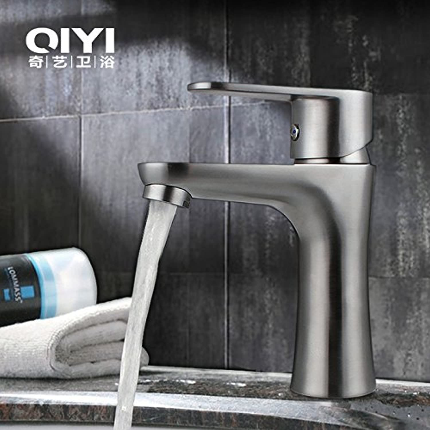 Gyps Faucet Single Lever Washbasin Mixer Tap 304 Stainless Steel Basin Sink is Pretty Small, Lap-Fit Tap Brushed Fine Left Hand Wash Your Face Wash Warm and Cold