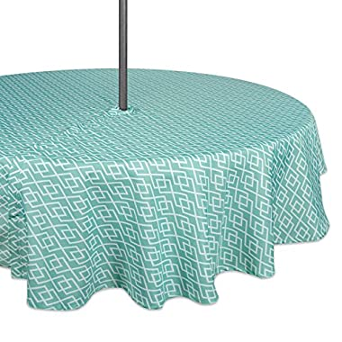 DII Spring & Summer Outdoor Tablecloth, Spill Proof and Waterproof with Zipper and Umbrella Hole, Host Backyard Parties, BBQs, Family Gatherings - (60  Round - Seats 2 to 4) Aqua Diamond