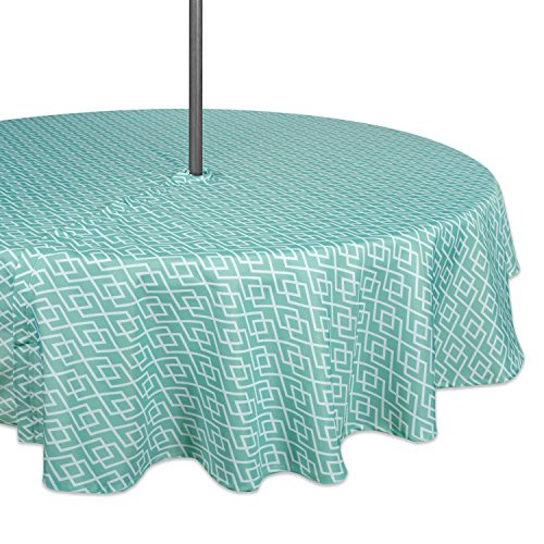 DII 100% Polyester, Spill Proof, Machine Washable, Zipper Tablecloth for Outdoor Use with Umbrella Covered Tables, 60' Round, Aqua Diamond, Seats 4 People, w