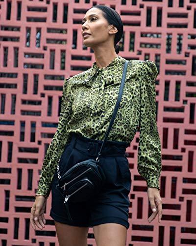 The Drop Women's Green Animal Print Bow-Detail Button-Down Shirt by @jonnycota