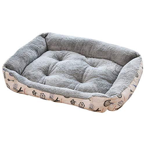 Souarts Hondenbed, hondenmandje, hondenbank, hondenkussen, hondenmand, mand met omkeerbaar kussen, wasbaar, huisdierbed, XXS, grijs