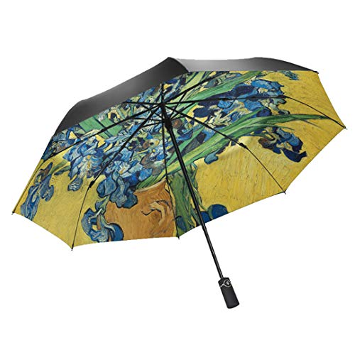 Mdsgfc Starry Oil Painting Umbrella Para Mujeres Creativo Portátil 3 veces a prueba de viento UV Paraguas automático - 8