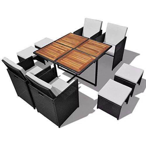lingjiushopping salle à manger de jardin 21 pièces Noir poli Rat ¨ ¢ n et bois acacia Material : Cadre en acier + rotin PE + dessus de bois d'acacia dure avec finition d'huile naturelle