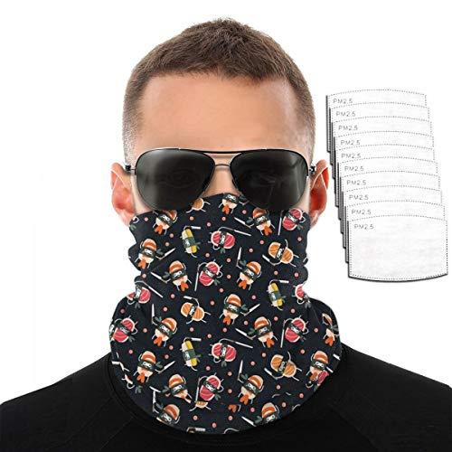 Sushi Knife Cute Japanese Best Black Headband Bandana Scarf Reusable Dust Filter Face Mask Balaclava Mouth Pm2.5