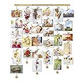 Love-KANKEI MEMORY Bilderrahmen Collage Fotorahmen Holzbilderrahmen mit 30 Kleinen Holzklammern Ideal Geschenk für Gedenktag wie Geburtstag Hochzeit Weihnachten usw.