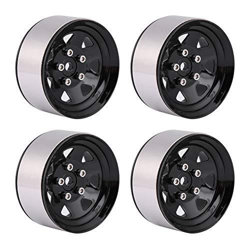 Zouminyy 4pcs Metal Beadlock Wheel 1.9'Llantas Bujes para Traxxas HSP Redcat 1:10 Crawler RC Car(Negro)