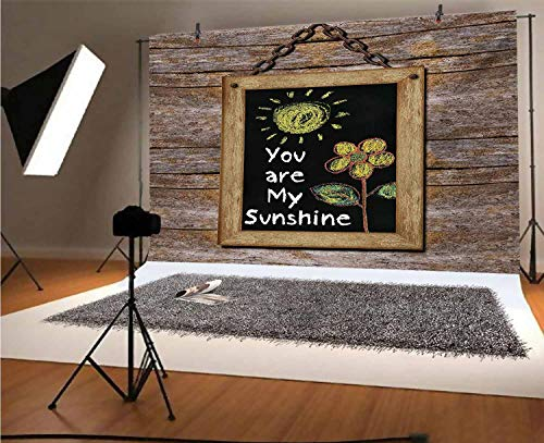 Quote 8x6 FT Vinyl Photo Backdrops,Love Valentines Phrase with Flower and Hand Drawn Sun Figure on Framed Wooden Wall Background for Child Baby Shower Photo Studio Prop Photobooth Photoshoot