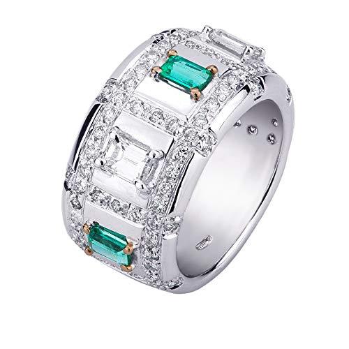 Carlo Raspagni Maestri gioiellieri dal 1889 Anello fascione Oro Bianco 18 kt. con Diamanti e smeraldi colombiani