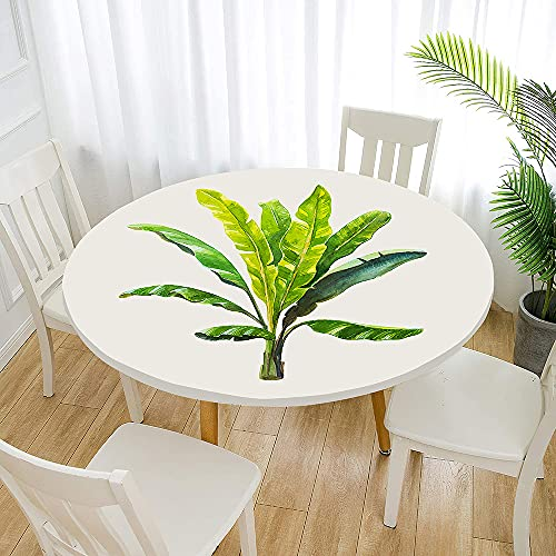 Fansu Impermeable Redondo Mantel con Borde Elástico, 3D Impresión Mantel de Mesa Elástica Ajustada Cubierta de Mesa para Picnic Comedor Cocina Restaurante Cena (Hoja de Banana,Diámetro 90cm)