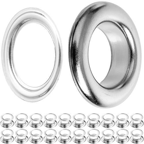 Ösen und Scheiben, Ø 14 mm Durchmesser, 20 Paare in Silber, Ösen mit Scheiben für Bekleidung, Camping Zubehör und Sonnensegel, Rost-frei, Tüllen,...