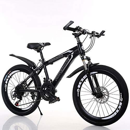 Velocidad Variable Sport Bike,Acero De Alto Carbono,20''22''24''26''Bicicleta,con Guardabarros Frenos De Doble Disco,Suspensión Completa,Bicicleta De Montaña para Hombres Y Mujeres-Negro 20inc