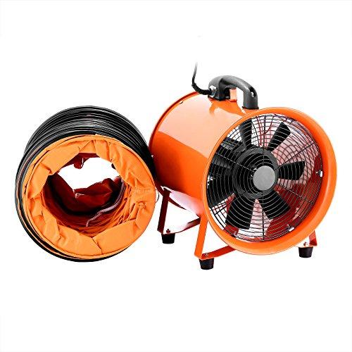 Ambesten 12 Zoll Gebläse Lüfter Industrie Extraktor Tragbarer Ventilator 3300 R/Min Luft Axial Metall Gebläse Kommerzieller Auspuff Werkstatt Ventilation Lüfter (12 Zoll Mit 5 meter Rohr)