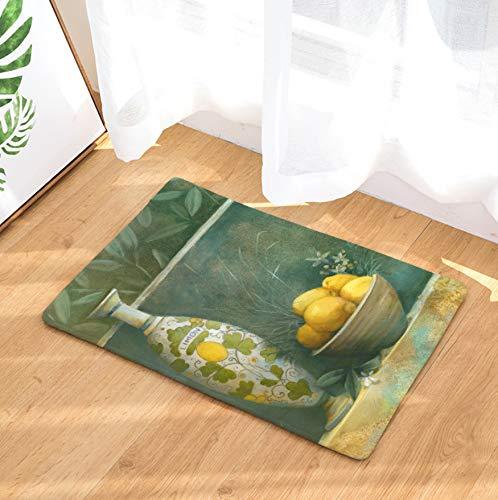 GjbCDWGLA Gelbe Zitronenvase Badematte Verschleißfeste Duschmatte Weiche rutschfeste Badezimmerteppich Badteppich 50 × 80 cm